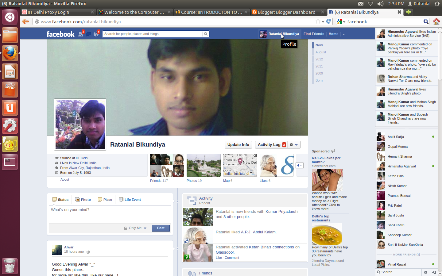 At iit delhi i blongs to rajasthan i have facebook account facebook