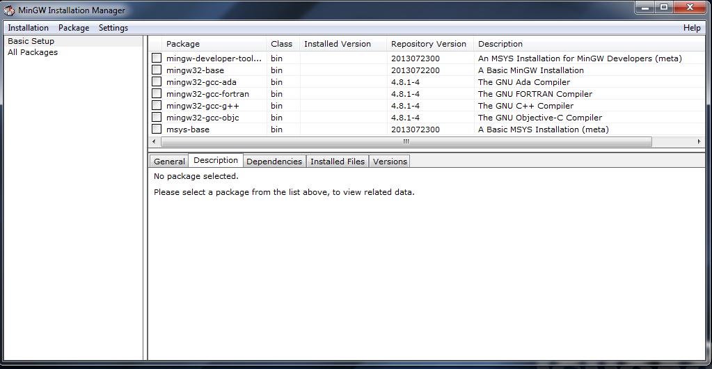 Setup environment for running C programs on windows
